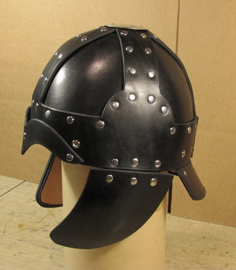 Leather Helms Medium helm with cheLeather Helms Medium helm with cheek plates and neck guardek plates and neck guard